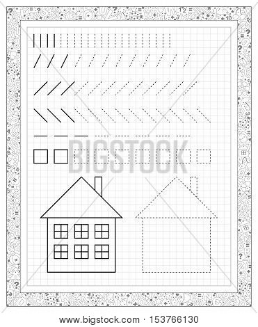 Black and white worksheet on a square paper with exercises for little children.