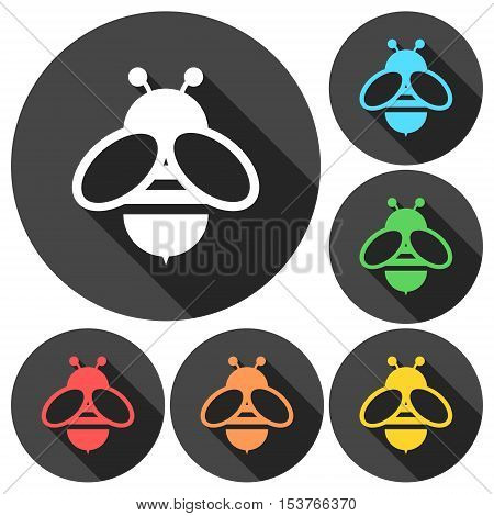 Vector Bee icons set with long shadow