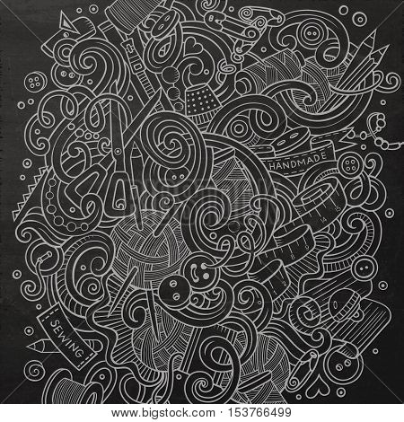 Cartoon cute doodles hand drawn Handmade illustration. Line art detailed, with lots of objects background. Funny vector artwork. Chalkboard picture with hand made theme items