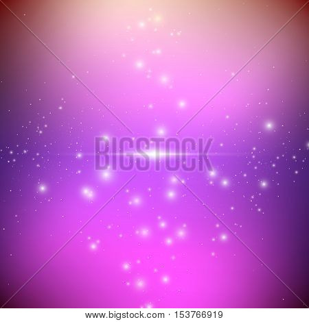 Cosmic galaxy background with bright shining stars. Illusion UFO with nebula and star dust. Alien Spaceship. Vector illustration