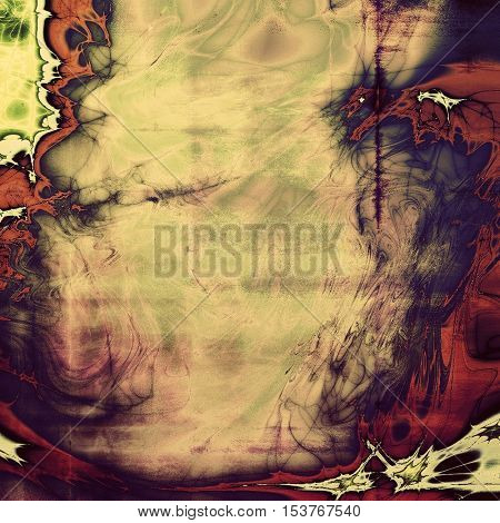 Abstract vintage background with grunge effects, ragged elements, and different color patterns: yellow (beige); brown; gray; green; blue; red (orange)