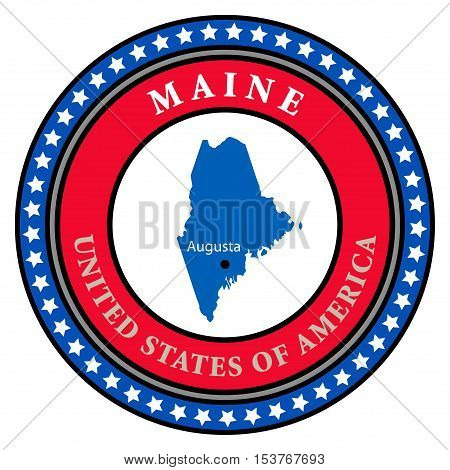 Label with name and map of Maine, vector illustration
