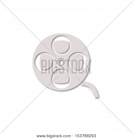 Simple Film reel icon on white background