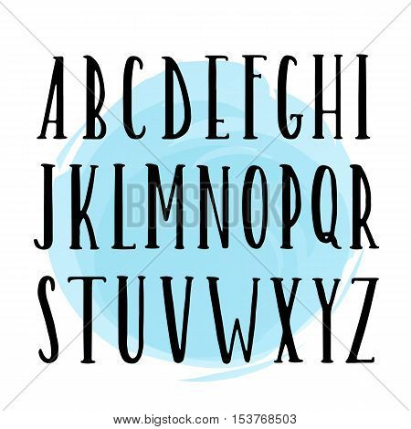 Vector Hand Drawn Font. Black Ink On White Isolated Background With Blue Watercolor Circle.