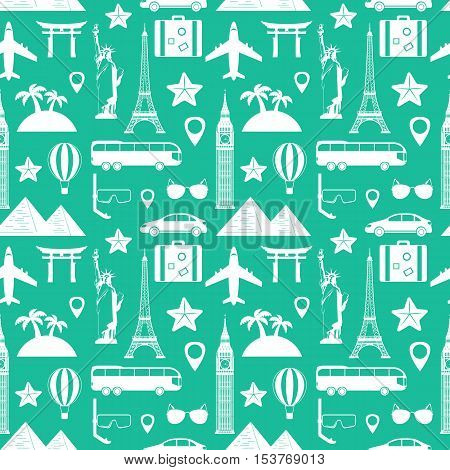 Seamless pattern. Travel and tourism concept. Vector illustration