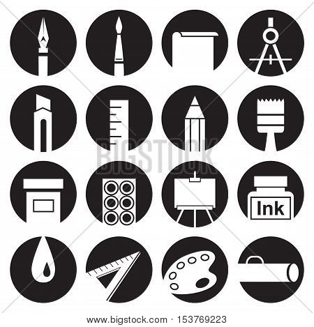 icons on white background the attributes of art and stationery in black circles