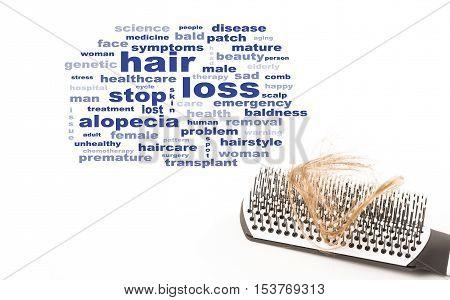 hair brush hair loss with text words alopecia baldness