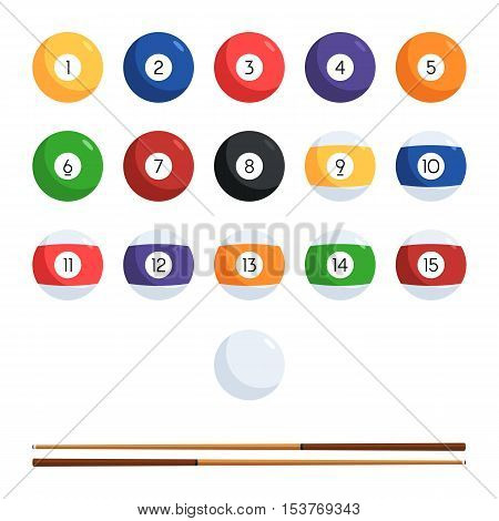 Colored billiard balls with numbers and cue. The character set of balls for the pool. Vector illustration in flat style isolated on white background for your design