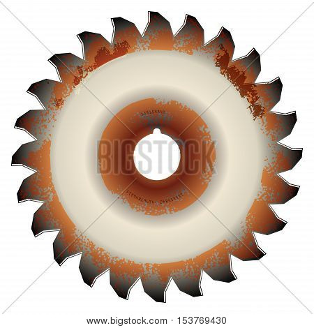 Rusty circular saw blade on white background, vector illustration