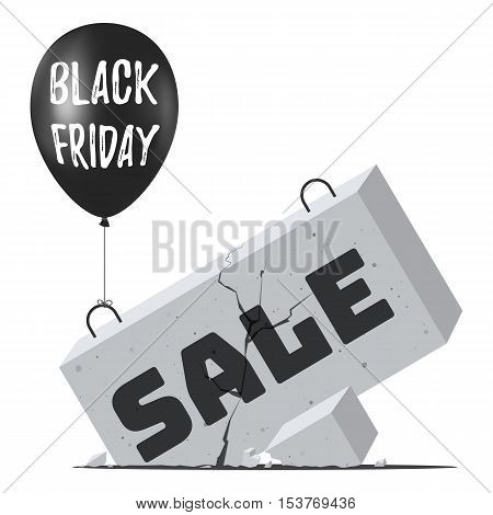 Black balloon with the inscription Black Friday and crash concrete block with the inscription Sale. Sale Concept of Discount. Vector illustration for web design banner, poster or print card