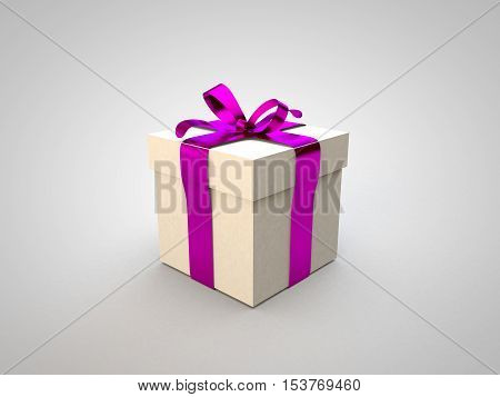 Gift box with pink ribbon bow 3d illustration rendering present