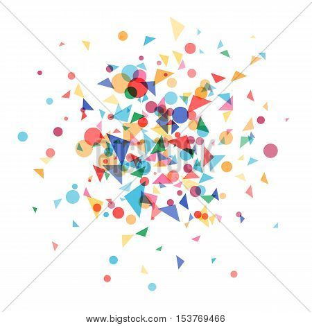 Explosion cloud a festively colored confetti. Carnival background, blast coloured shapes.Vector illustration template web design for banner, poster or greeting card