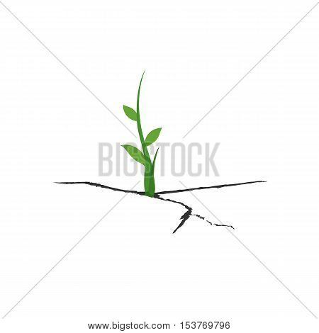 New life concept. Small sprout plants, which grows out of cracks. Vector illustration isolate on white background