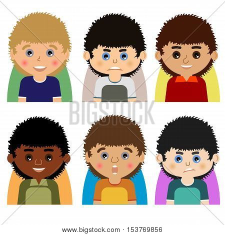 Vector man character avatars. Set of people icons with faces. Cartoon style faces avatars of man. Isolated vector characters.