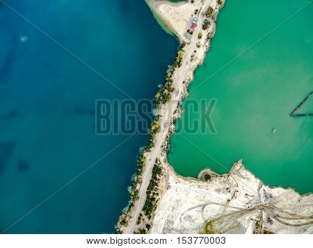 Aerial view - sandy shore and green and blue water