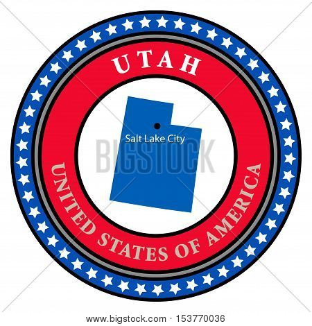 Label with name and map of Utah, vector illustration
