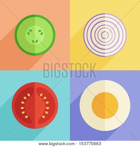 Vector Food Illustration. Flat Design, Organic Breakfast Set. Egg Tomato Cucumber Onion Icon Collect