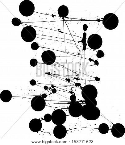 black vector blots. Abstract shapes. Background. Monochrome