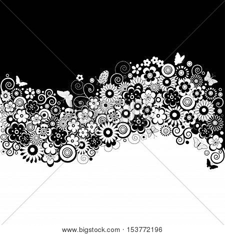 Black and white flowers Floral card in vector