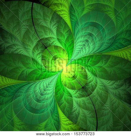Abstract fractal background in green colors computer generated image