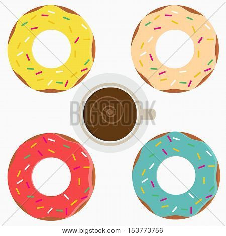 Set of flat vector donuts with colored icing and cup of coffee isolated on white