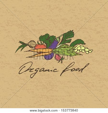 Organic food stamp, badge or label. Hand drawn vegetables and hand lettering.