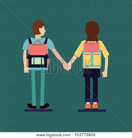 Couple traveler with Backpack. Couple of tourist with Backpacks Standing Back View. Flat Style Illustration