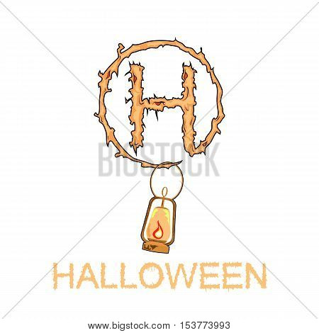 Vector illustration of the halloween icon with the flame.