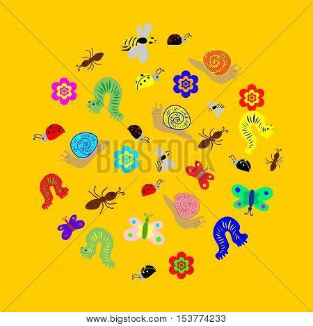 Vector Illustration. Hand Drawn Funny Doodle Insects arranged in a shape of circle. Colorful and Cute caterpillars worms butterflies bees ants. Perfect for Child Design.
