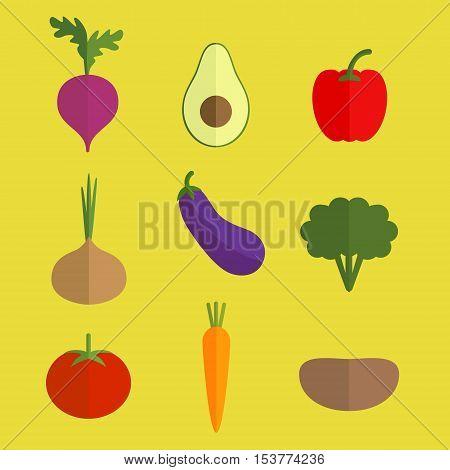 Vector vegetable colorful icons. Beet avocado, paprika onion eggplant broccoli tomato carrot potato.