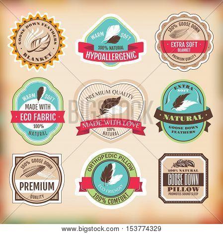 Set of different bedding labels vector illustration