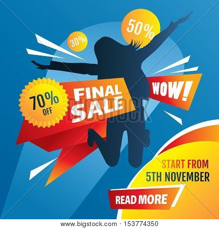 Final sale poster with girl silhouette vector illustration