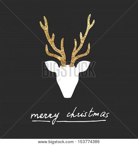 Vector gold deer Merry Christmas postcard, poster.