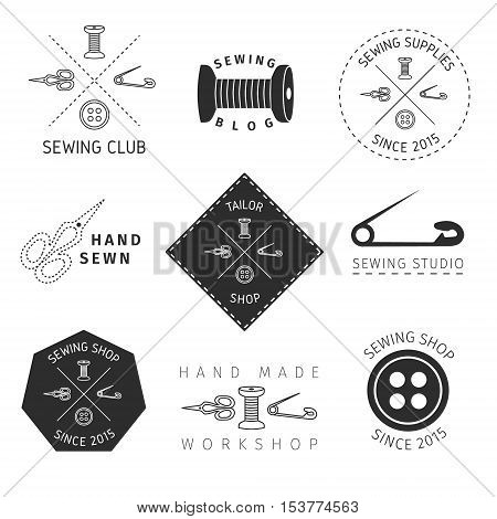 Vector hand drawn sewing accessories and equipment.