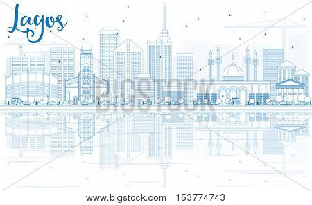 Outline Lagos Skyline with Blue Buildings and Reflections. Vector Illustration. Business Travel and Tourism Concept with Modern Architecture. Image for Presentation Banner Placard and Web Site.