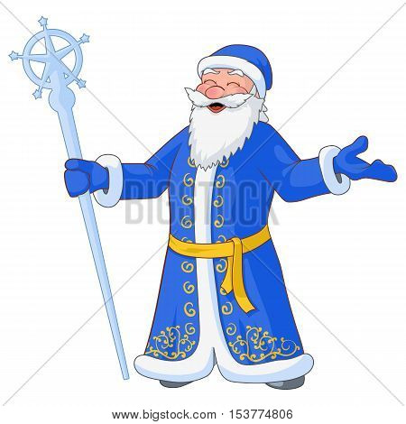 Russian jolly Ded Moroz with divorced hands and ice staff. Vector Illustration