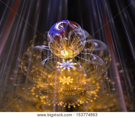 fractal flower with pollen digital artwork for creative graphic design