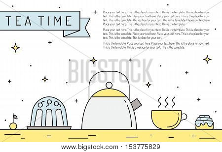 Crockery multicolored outline horizontal illustration. Dishes and food (tea time) on the table. Part three.