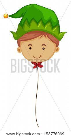 Elf balloon on string illustration