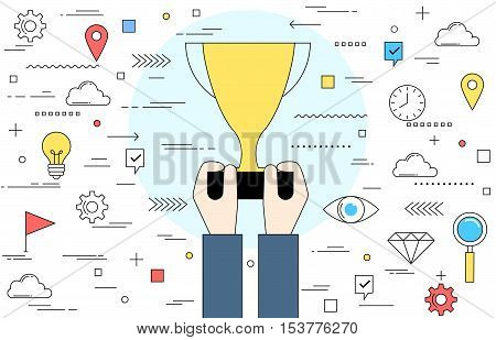 Hand holding trophy line style illustration. Concept of success and achievement