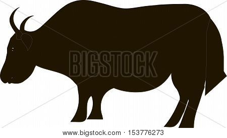 Black yak silhouette on white, vector illustration