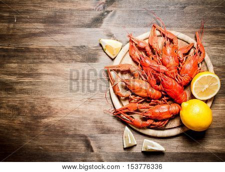 The Food Delicacies. Boiled Crawfish With Slices Of Lemon.