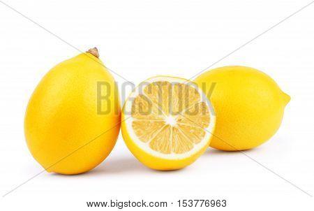 Lemons. Fresh ripe lemons isolated on white background. Lemon in a cut