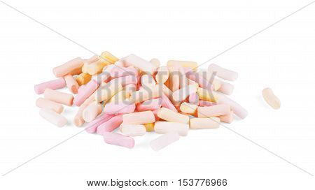 Marshmallow on white background  isolated, soft,  confectionery