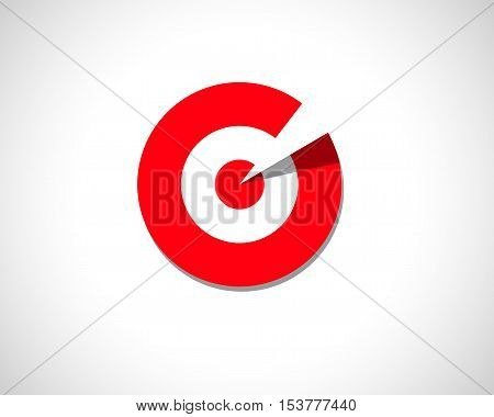 Technology Business Abstract Logo Design Template. Emblem from Red Circles. Round Striped Logotype. Creative Target Concept Icon.
