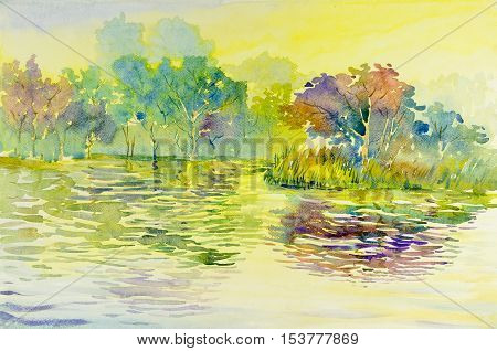Watercolor landscape original painting colorful of reservoirs forests Island water