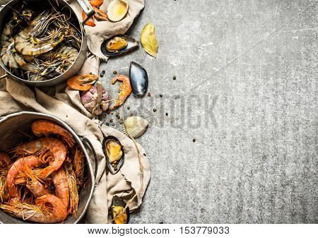Fresh Shrimp, Fish And Shellfish.