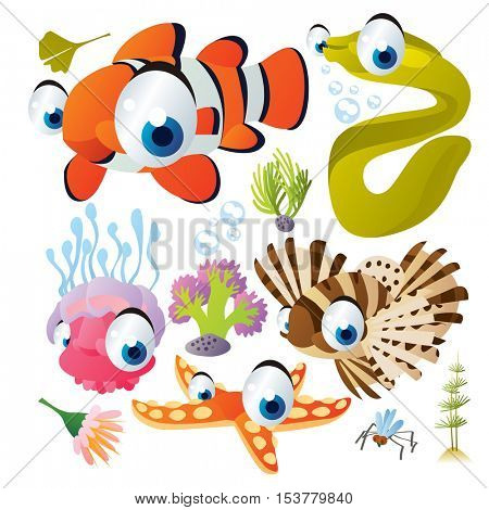 cute vector flat style illustration of sea life animals and fish. Funny collection set of clown fish, moray, zebra fish, jellyfish, sea star