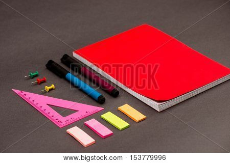 Stationery on grey table. Office stuff. Copy space