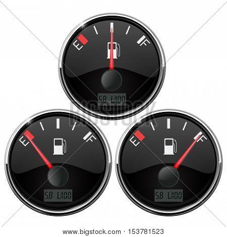 Fuel gauge. Vehicle electronics. Vector illustration isolated on white background